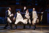 From left, Daveed Diggs, Okieriete Odnaodowa, Anthony Ramos and Lin-Manuel Miranda in <i>Hamilton</i>, nominated for a record 16 Tony Awards, including Best Musical, on Broadway.(Joan Marcus)