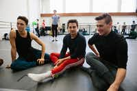 Booker T. Washington alumni Kade Cummings, 19, (left), Zane Unger, 18, and Todd Baker, 19, (right) warm up before first year ballet class at The Julliard School. (Cassandra Giraldo/Special Contributor)
