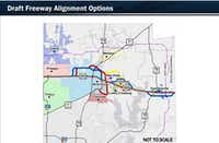 This slide from a Texas Department of Transportation presentation shows the five proposed alignments. (TxDOT)