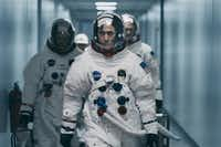 "Lukas Haas, Ryan Gosling and Corey Stoll in the film ""First Man."" (Daniel McFadden)(Daniel McFadden/TNS)"