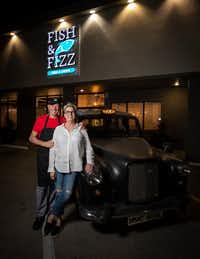 Nick Barclay (left), chef and owner, with his wife, Kelli Barclay, at Fish & Fizz.(Smiley N. Pool/Staff Photographer)