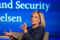 Secretary of Homeland Security Kirstjen Nielsen speaks to George Washington University's Center for Cyber and Homeland Security, in Washington, Wednesday, Sept. 5, 2018. The Trump administration is planning to issue new rules to circumvent a longstanding court agreement on how children are treated in immigration custody. That means families will be kept in detention longer(Cliff Owen/AP)
