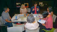 A gathering of about 20 people met at the Bachman Lake Branch Library on the night of September 6, 2018, to discuss the city's new Cultural Plan. This is one of the group discussions that too place during the evening.(Office of Cultural Affairs/<div><br></div>)