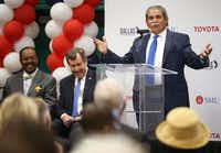 Dallas ISD Superintendent Michael Hinojosa spoke during a grant announcement Friday. Dallas ISD, Toyota and Southern Methodist University will join forces to open a school in West Dallas focused on science, technology, engineering and math instruction.(Rose Baca/Staff Photographer)