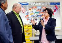 Democratic gubernatorial candidate Lupe Valdez visits with business manager Ronnie Smitherman. center, and president Julio Gonzalez during her tour of the Texas Iron Workers Local 263 apprenticeship training facility in Grand Prairie on Thursday.. She took a tour of facility with a small group of union officials.(Tom Fox/Staff Photographer)