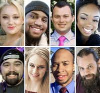 "(Top row, from left) Meredith Hight, 27; Rion Morgan, 31; James Dunlop, 29; and Myah Bass, 28. (Bottom row, from left) Caleb Edwards, 25; Olivia Deffner, 24; Darryl William Hawkins, 22; and Anthony ""Tony"" Cross, 33. Police say Spencer Hight burst into Meredith's cookout in Plano on Sept. 10, 2017, fatally shooting her and seven others."