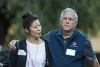 Julie Chen and Leslie 'Les' Moonves, president and chief executive officer of CBS Corporation, arrive for a morning session of the annual Allen & Company Sun Valley Conference, July 11, 2018 in Sun Valley, Idaho.(Drew Angerer/Getty Images)