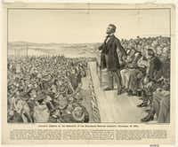 "This 1905 artist's rendering from the Sherwood Lithograph Co. via the Library of Congress depicts President Abraham Lincoln speaking at the dedication of the Gettysburg National Cemetery on Nov. 19, 1863.(<p><span style=""font-size: 1em; background-color: transparent;"">Library of Congress</span><br></p><p></p>/AP)"