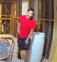 Police are searching for a man suspected of breaking into a house under construction in the 3500 block of Bolivar Drive.(Dallas Police Department)
