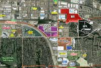 The development site, marked in red, is just east of Bush Turnpike.(Huey Investments)