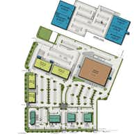 The new shopping center would contain a variety of retail buildings - the largest the size of a supermarket - plus a parking garage.(CBRE)