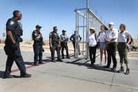 TORNILLO, TX - JUNE 24: Filmmaker Rob Reiner (2nd R) his wife Michele Reiner (L) and their daughter Romy Reiner (2nd L) speak with Department of Homeland Security police officers near the tent encampment recently built at the Tornillo-Guadalupe Port of Entry on June 24, 2018 in Tornillo, Texas. The Reiner family joined others to protest the separation of children from their parents after they were caught entering the U.S. under the administration's zero tolerance policy.  (Photo by Joe Raedle/Getty Images)(Joe Raedle/Getty Images)