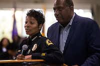 Dallas Police Chief U. Renee Hall, with State Sen. Royce West, called on the Texas Rangers to conduct an independent investigation into last week's deadly shooting.(Shaban Athuman/Staff Photographer)