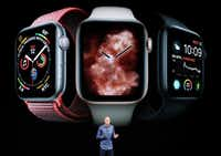 Jeff Williams, Apple's chief operating officer, speaks about the Apple Watch Series 4 at the Steve Jobs Theater during an event to announce new Apple products Wednesday, Sept. 12, 2018, in Cupertino, Calif. (AP Photo/Marcio Jose Sanchez)(Marcio Jose Sanchez/AP)