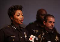 Dallas Police Chief U. Renee Hall speaks at a press conference, following an officer-involved shooting, at Dallas Police headquarters in Dallas on Sept. 7, 2018. (Rose Baca/Staff Photographer)