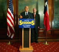 Former New York City Mayor Rudy Giuliani (L) and U.S. Rep. Pete Sessions, R-Dallas, have been friends for years.(<br>/File Photo)