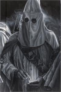 Valdez's portrayal of a modern KKK member shows him on a cellphone.(Vincent Valdez)