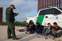In this file photo taken on March 26, 2018 a Border Patrol agent apprehends illegal immigrants shortly after they crossed the border from Mexico into the United States in the Rio Grande Valley Sector near McAllen.(Loren Elliott/Agence France-Presse)
