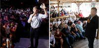 Beto O'Rourke talks to voters during a rally at the Houston Stampede Event Center in Houston Texas, on Saturday September 8, 2018. Sen. Ted Cruz to talks with voters during a retail stop at Tin Roof BBQ in Humble Texas, on Saturday September 8, 2018.  Sen. Ted Cruz campaigned in Humble, Texas, Texas on Saturday, while Beto O'Rourke campaigned a few miles away in Houston, Texas. (Irwin Thompson/Staff Photographer)(Irwin Thompson)