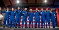 Johnson Space Center was where NASA introduced on Aug. 3 the first U.S. astronauts who will fly on American-made, commercial spacecraft to and from the International Space Station. They are (from left) Victor Glover, Mike Hopkins, Bob Behnken, Doug Hurley, Nicole Aunapu Mann, Chris Ferguson, Eric Boe, Josh Cassada, and Suni Williamson(AFP/Getty Images)