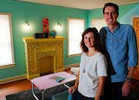 Owners Jeremy and Kelsey Turner in the living room of The McFly. On the table: a Trapper Keeper that inspired the color scheme.(Brian Elledge/Staff Photographer)