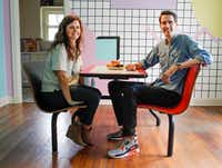 Owners Jeremy and Kelsey Turner sit at the dining table in The McFly. (Brian Elledge/Staff photographer)