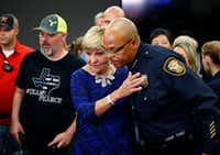 """<p>Fort Worth Police Chief Joel Fitzgerald received a hug from Mayor Betsy Price after a 2016 news conference&nbsp;<span style=""""font-size: 1em; background-color: transparent;"""">at John Peter Smith Hospital&nbsp;</span><span style=""""font-size: 1em; background-color: transparent;"""">about two wounded officers. They were together again on another grim occasion early Saturday to announce the death of Officer Garrett Hull.</span></p>(File Photo/Staff)"""