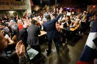 Sen. Ted Cruz waves to the crowd after addressing supporters during a campaign event at Babes Chicken Dinner House on Tuesday, Aug. 14, 2018, in Arlington, Texas.(Smiley N. Pool/Staff Photographer)