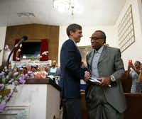 Dallas County Commissioner John Wiley Price shakes hands with Beto O'Rourke before giving a speech to the crowd during the South Dallas with Beto! event at Good Street Baptist Church in Dallas on Sept. 14, 2018.(Nathan Hunsinger/Staff Photographer)