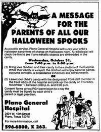 Area radiology departments stayed open late on Halloween night to x-ray children's candy to check for foreign objects.