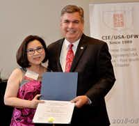 Anh Vo, owner of Cindi's NY Deli and Restaurant, received an award at the Chinese Institute of Engineers/USA-DFW annual dinner at the Renaissance Hotel in Richardson. Photo by Sam Hsu.