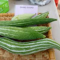 Among Gardeners in Community Development's more unusual offerings: snake gourds, which  you cook like squash. At White Rock Good Local Market.(Kim Pierce/Special Contributor)