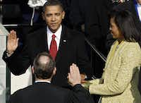 <p>President Barack Obama was sworn in by Chief Justice John Roberts as the 44th president of the United States on Jan. 20, 2009. Michelle Obama held the Bible that was used by Abraham Lincoln at his 1861 inauguration. Obama served until 2017.</p>(Chip Somodevilla/Getty Images)