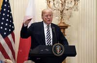 U.S. President Donald Trump spoke during a news conference with Polish President Andrzej Duda in the East Room at the White House on Sept. 18, 2018, in Washington, D.C. (Olivier Douliery/Tribune News Service)