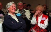 "<p><span style=""font-size: 1em; background-color: transparent;"">Isabelle Collora (left) and Leora Price laughed during a talk titled 'Sermiotic Expositions of 'Mary Had a Little Lamb'''' after a dinner held for participants in Laity Week at SMU in 1997.</span></p>(File Photo&nbsp;/Staff)"