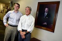 Lonnie Pollock IV, director of sourcing and supplies, and his father Lonnie Pollock III, CEO and president of Pollock, with a portrait of founder and grandfather Lawrence Pollock, at Pollock headquarters in Grand Prairie.(Ben Torres/Special Contributor)