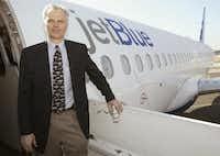 FILE photo shows David Neeleman standing beside a JetBlue A320 airliner at the Burbank airport in Burbank, California in 2005. EPA/BRENDAN MCDERMID(BRENDAN MCDERMID/EPA)