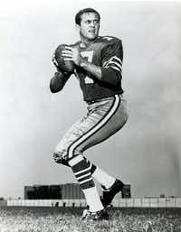 Dallas Cowboys quarterback Don Meredith, one of the most recognizable figures of the early Dallas Cowboys and an original member of ABC's <i>Monday Night Football</i>broadcast team, died in 2010.(NFL/Via The Associated Press)