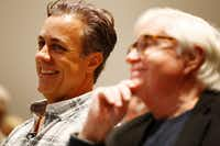 Filmmaker Michael Meredith (left) and Michael Granberry of <i>The Dallas Morning News</i>(Carly Geraci/Staff Photographer)