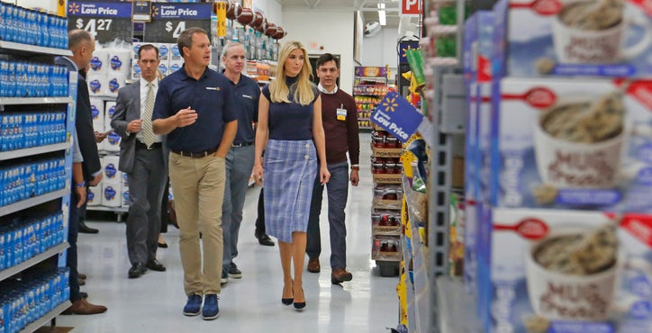 First Daughter Ivanka Trump Walks With Walmart CEO Doug McMillon To Her Right As She Visits The Store Off Of Highway 80 In Mesquite Participate A