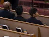 Dallas Police Chief U. Renee Hall, right, with City Manager T.C. Broadnax and his chief of staff Kim Tolbert at the public viewing before the funeral of Botham Shem Jean at the Greenville Avenue Church of Christ on September 13,(Shaban Athuman/Staff Photographer)