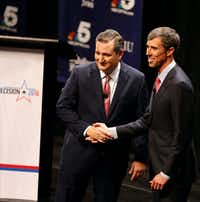Sen. Ted Cruz, R-Texas, and Rep. Beto O'Rourke, D-Texas, after a debate at McFarlin Auditorium at Southern Methodist University in Dallas on Sept. 21, 2018.(Nathan Hunsinger/Staff Photographer)