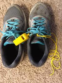 <br>(My whistle, ready to go with my ever-tied shoes./Leslie Barker)
