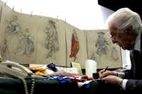 """<p><strong style=""""font-size: 1em; background-color: transparent;"""">Costume designer</strong><span style=""""font-size: 1em; background-color: transparent;""""> Peter J. Hall works among his sketches in his office. Hall was the Dallas Opera's resident costume designer for four decades.</span></p>(Courtney Perry&nbsp;/Special Contributor&nbsp;)"""