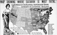 Fatalities attributed to cattarh, according to Dr. Hartman. This map was published in The Dallas Morning News in 1905.