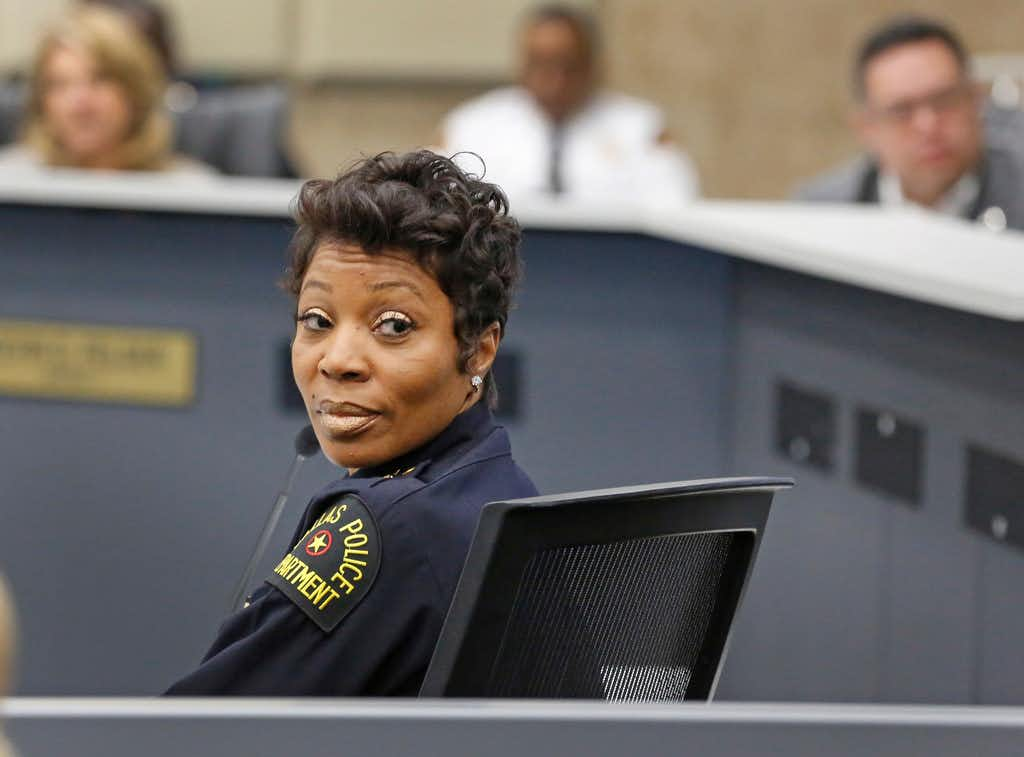 Dallas Police Chief U. Renee Hall is pictured at a Public Safety committee meeting at City Hall, moments after it was announced that Dallas Police Officer Amber Guyger had been fired from the department, photographed in downtown Dallas Monday, September 24, 2018. (Louis DeLuca/The Dallas Morning News)(Louis DeLuca/Staff Photographer)
