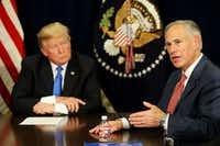 "Gov. Greg Abbott has had at least 19 calls, meetings or appearances with President Donald Trump. An Abbott spokeswoman touted that working relationship, saying, ""Texans want results.""(Andy Jacobsohn/Staff Photographer)"