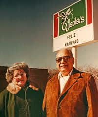 Cecilia and Ben Ojeda, who opened Dallas Tex-Mex mainstay Ojeda's in 1969, are pictured in a photo that hangs in the Maple Avenue location.( Ojeda family photo)