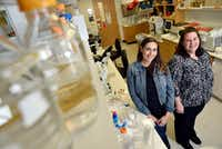 Arielle Woznica, 29, left, a postdoctoral researcher at UT Southwestern, with her mentor Julie Pfeiffer, professor of microbiology at UT Southwestern.(Ben Torres/Special Contributor)