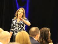 Traci Brown, who grew up in Dallas, taught bankers and others about body language at a Las Colinas  financial conference in September.(Elizabeth McCormick/Courtesy photo)